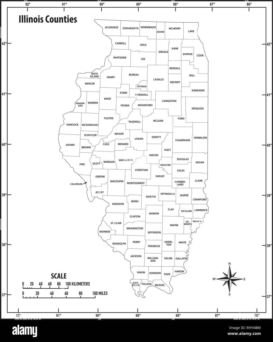 Illinois state outline administrative and political vector map in black and white - Stock Vector