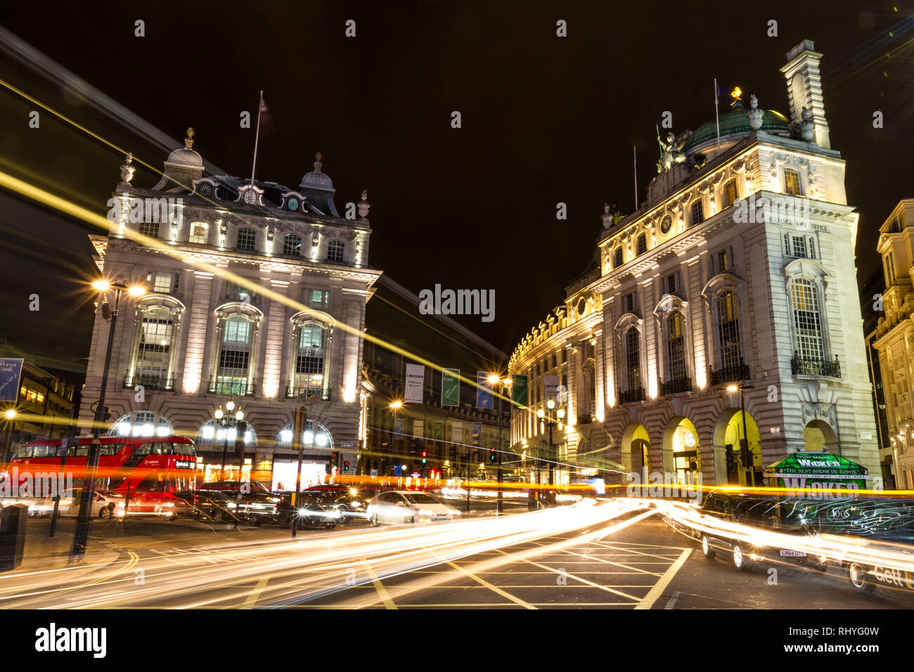Piccadilly Circus by night - Stock Image