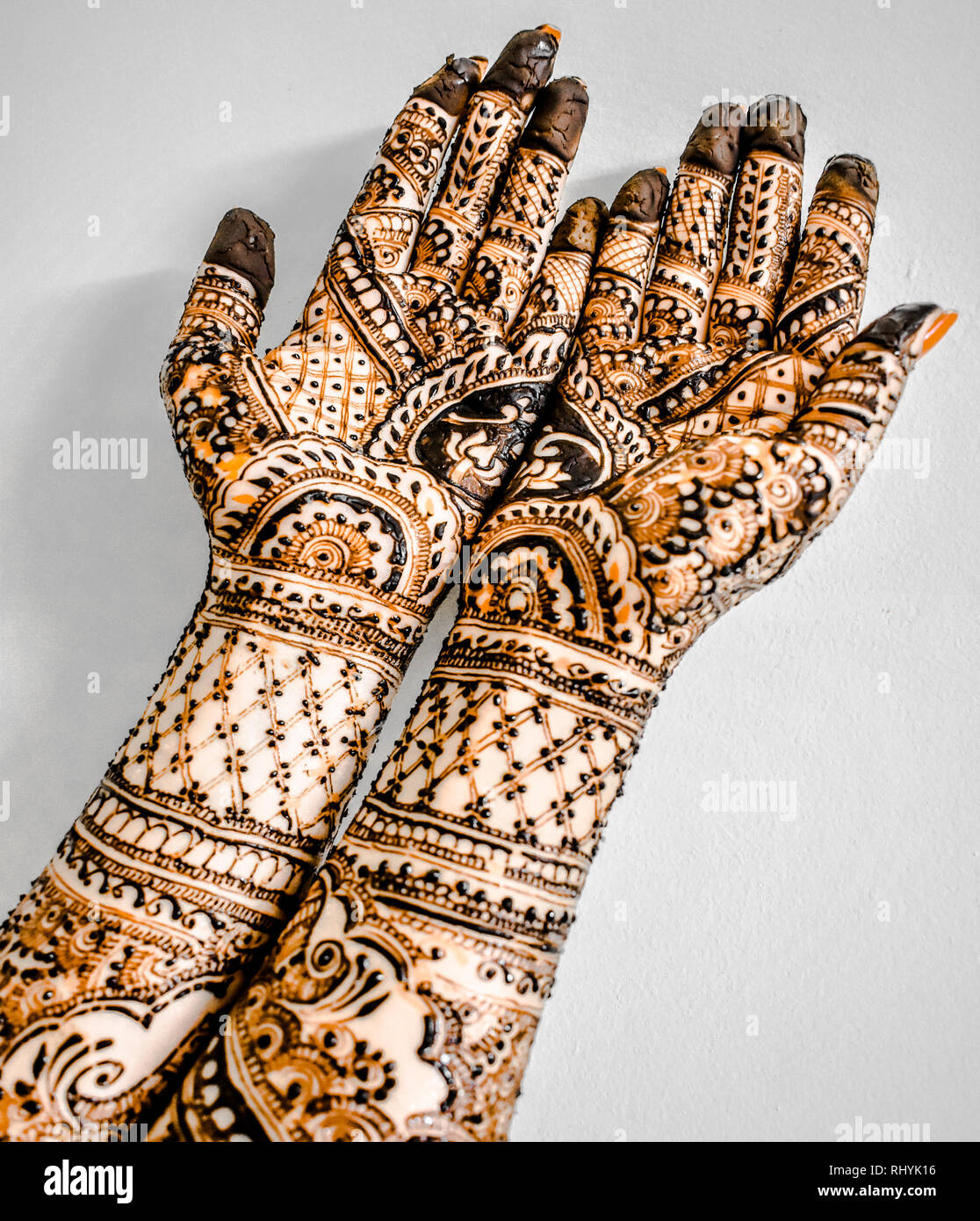Beautiful fair hands of Girl, who has artistically applied