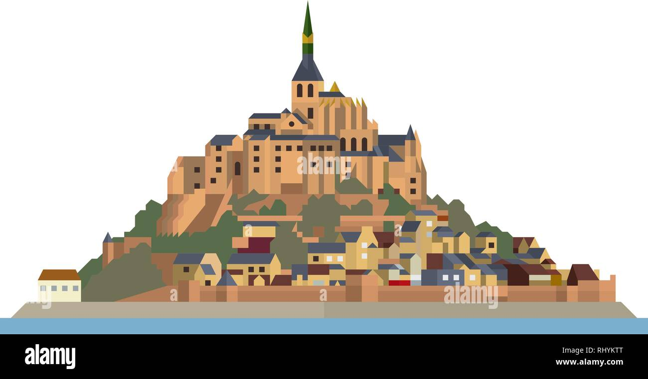 Flat design isolated vector icon of Le Mont-Saint-Michel, island, village and monastery off the French Normandy coast. - Stock Vector