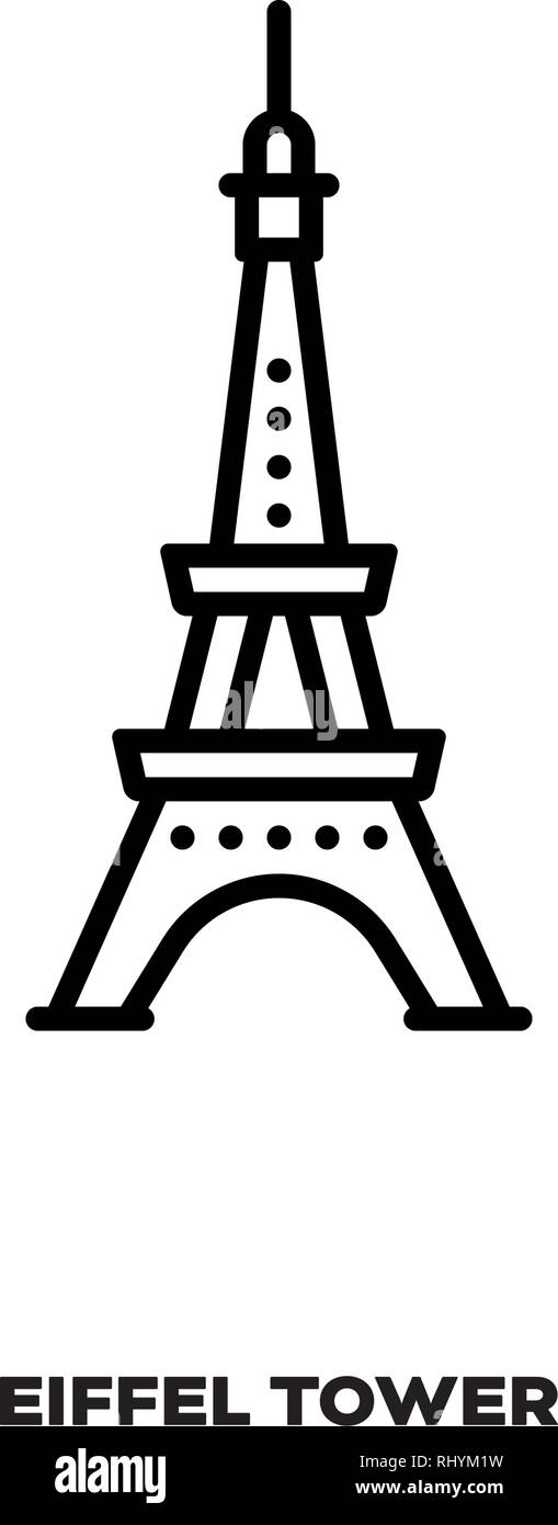 Eiffel Tower at Paris, France, vector line icon. International landmark and tourism symbol. - Stock Vector