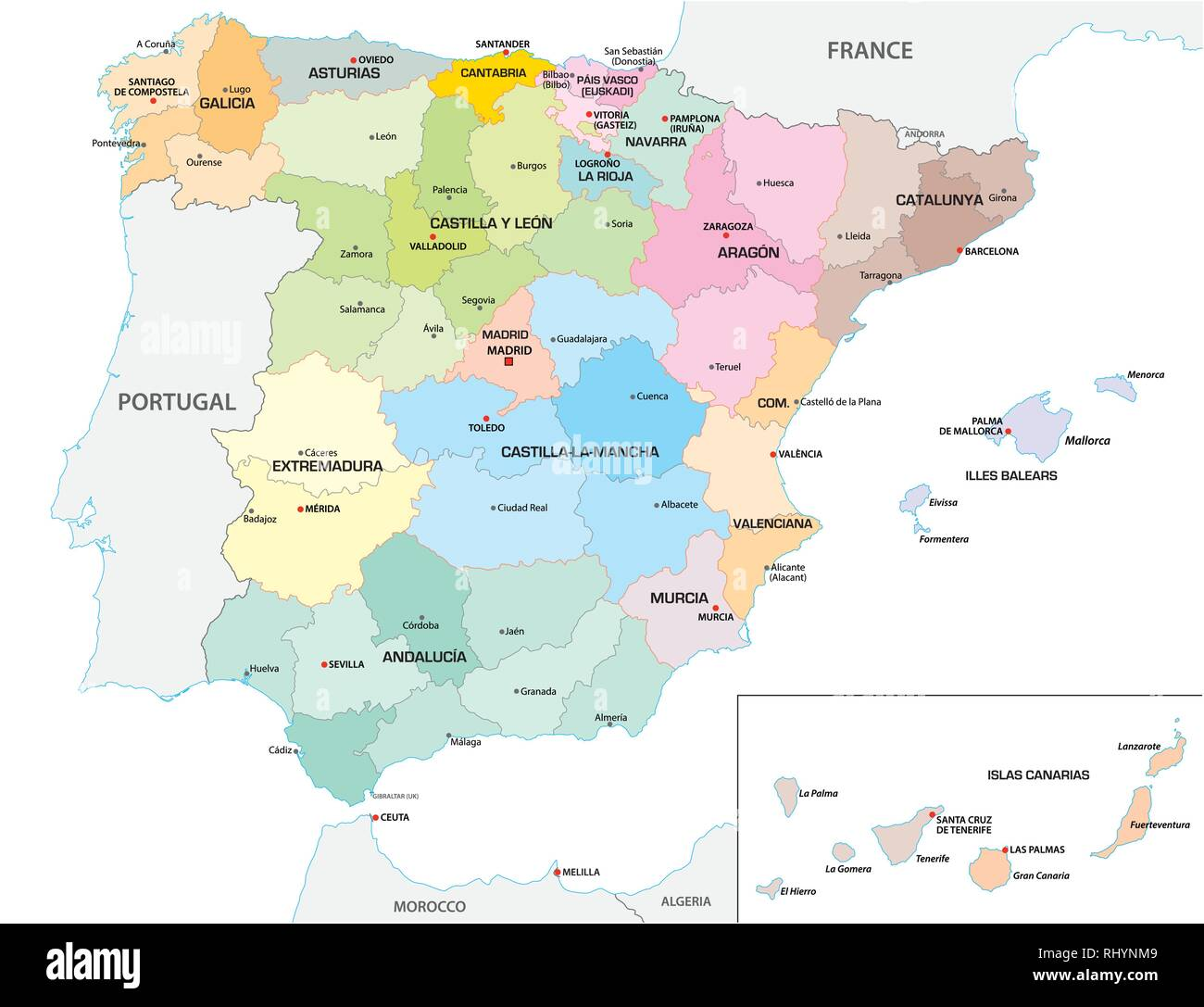 Map Of Spain Showing Regions.Colored Administrative And Political Vector Map Of The Spanish