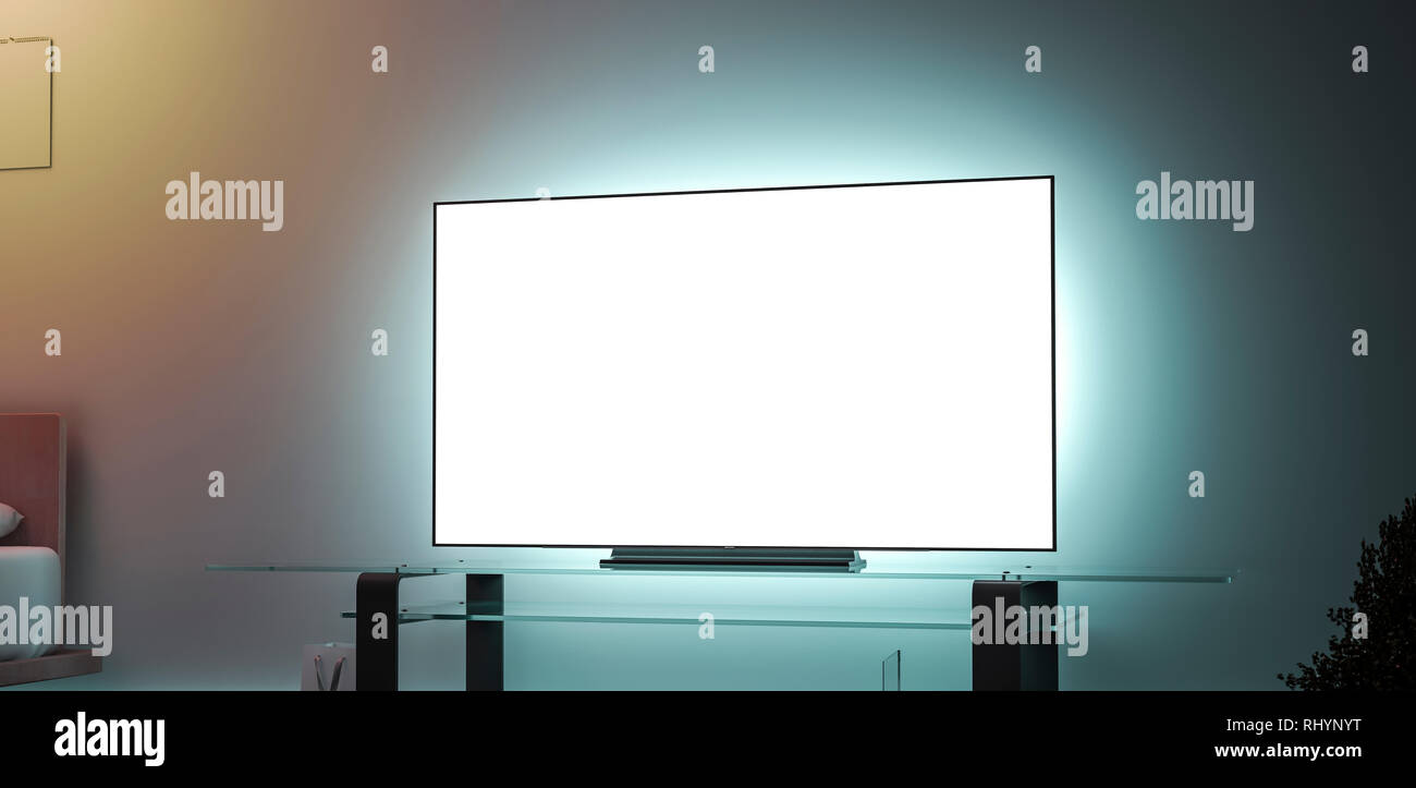 Blank white large tv screen interior in darkness mockup, side view, 3d rendering. Empty televisor in apartment mock up. Clear dark houseroom with hd monitor on acrylic stand template. - Stock Image