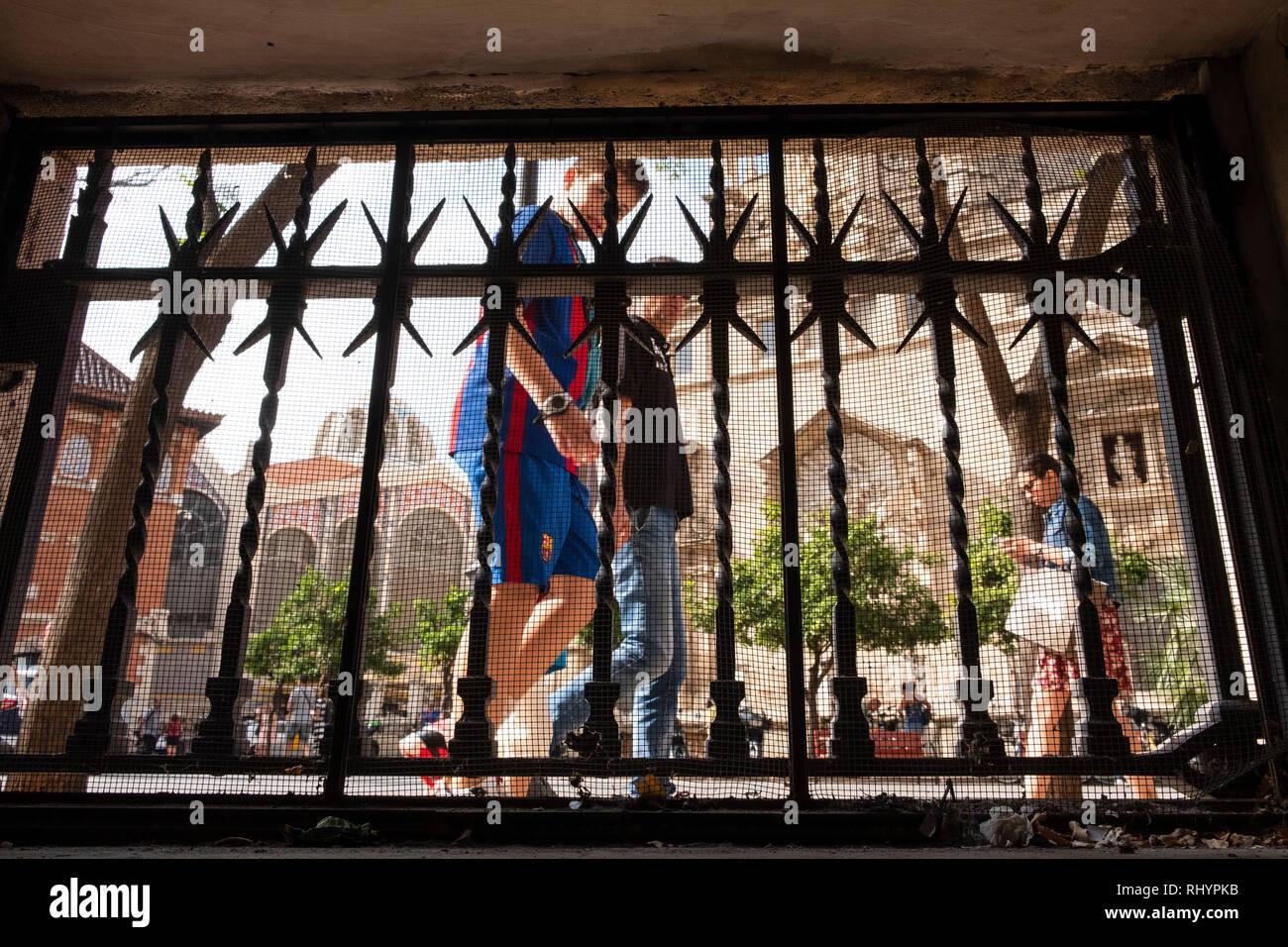 Wrought Iron Grill at pavement level at The Silk Exchange, La Lonja de la Seda, in Valencia Spain Stock Photo
