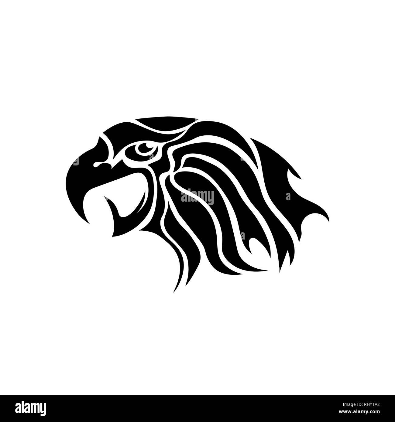 Eagle Head Tattoo Design Logo Prey Bird Stock Vector Image Art Alamy