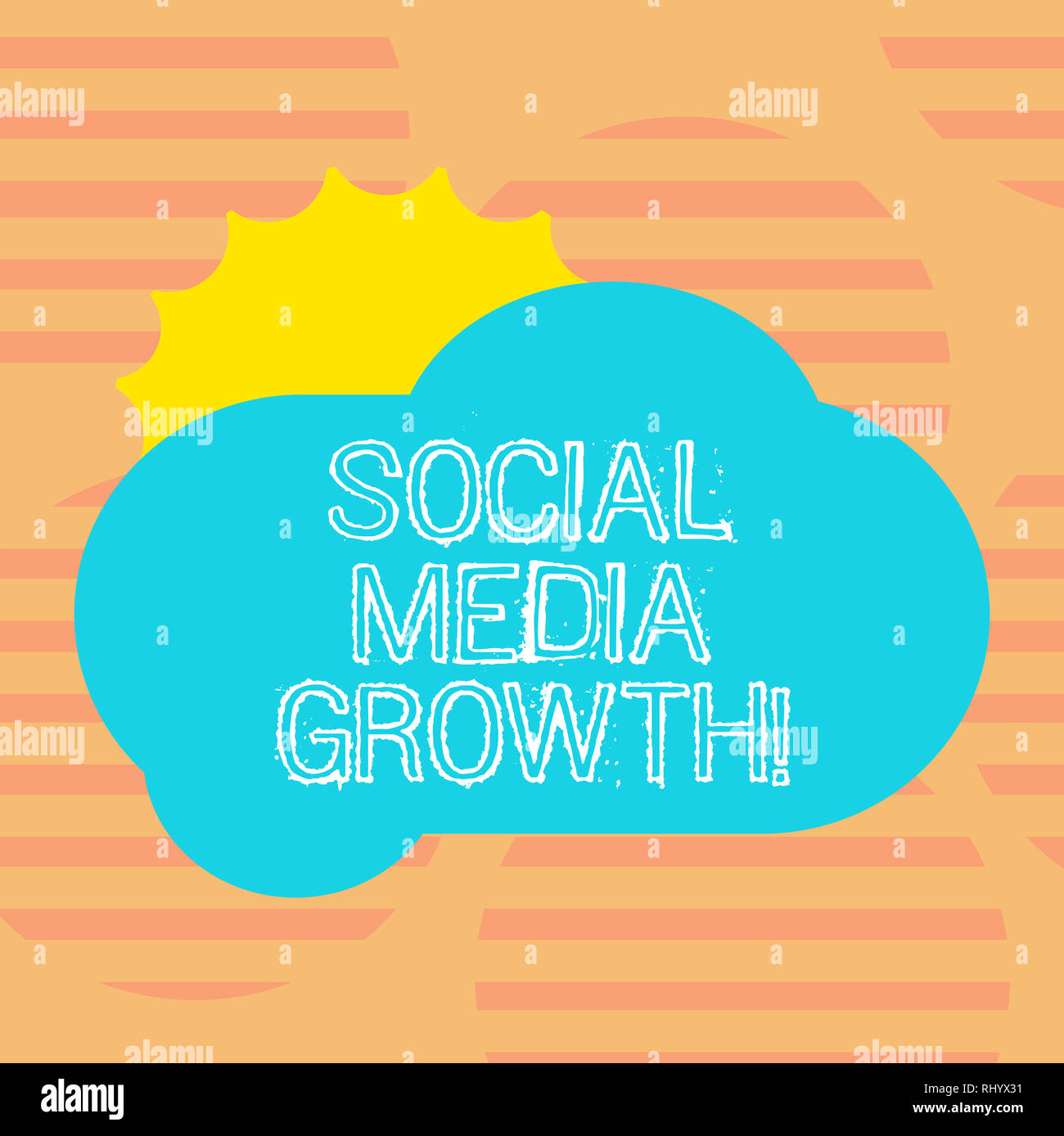 Word Writing Text Social Media Growth Business Concept For Marketing Is Obtained By Value Of Internet And Tv Sun Hiding Shining Behind Blank Fluffy C Stock Photo Alamy