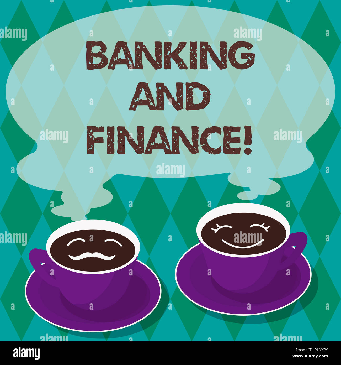 Writing note showing Banking And Finance. Business photo showcasing institutions that provide variety of financial services Sets of Cup Saucer for His - Stock Image
