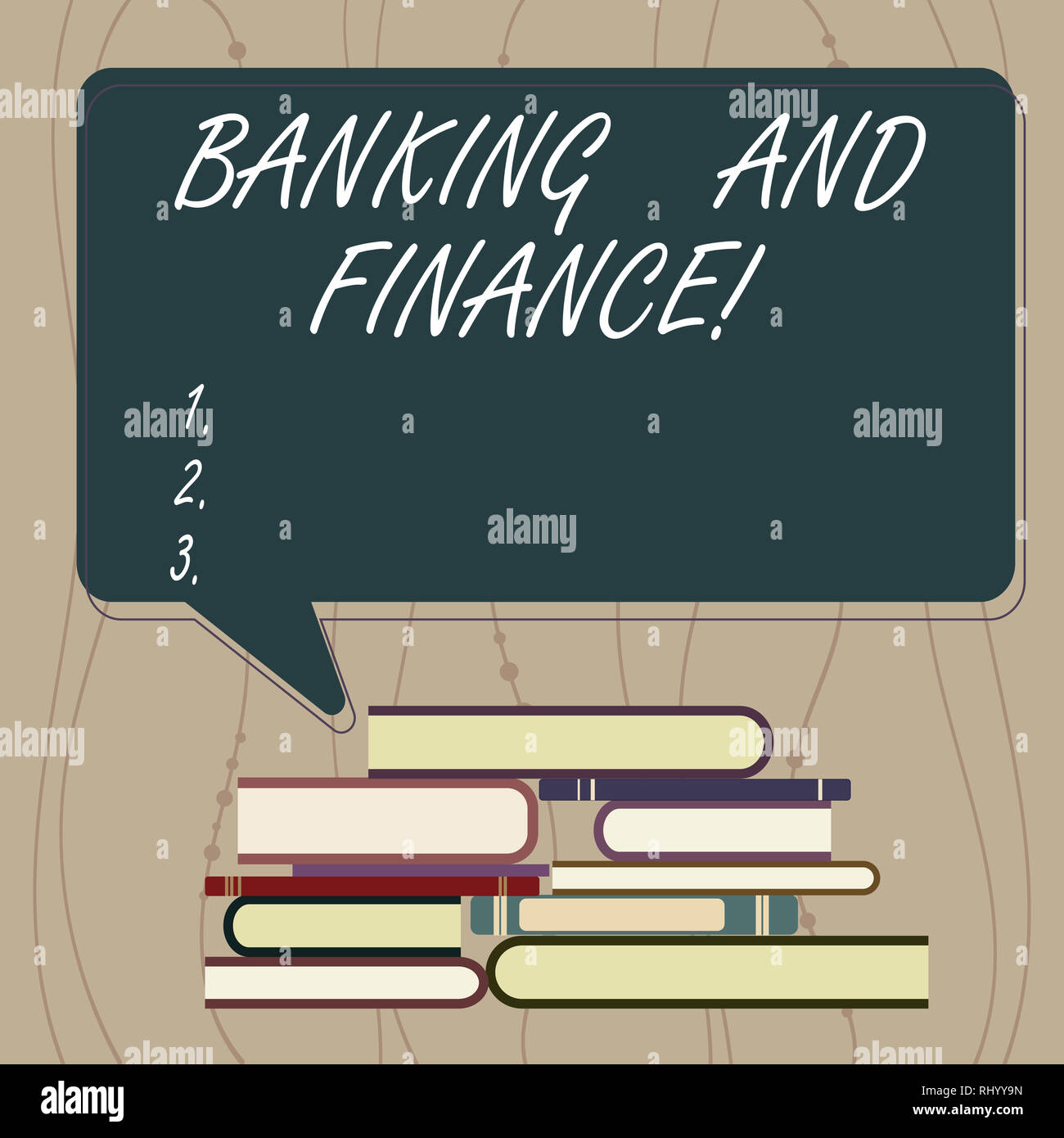 Writing note showing Banking And Finance. Business photo showcasing institutions that provide variety of financial services Uneven Pile of Hardbound B - Stock Image