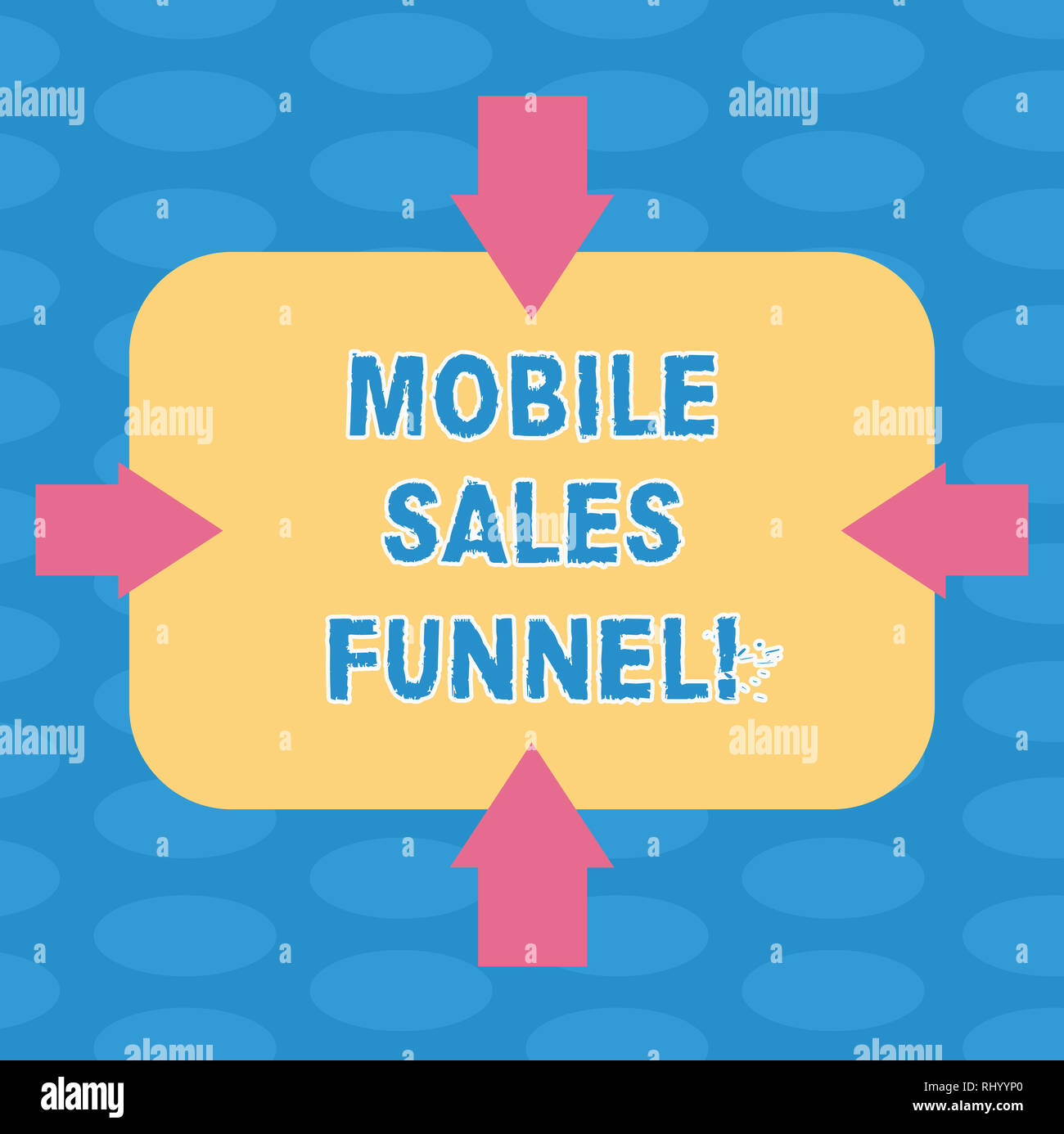 Word writing text Mobile Sales Funnel. Business concept for visual metaphor for path taken by potential customer Arrows on Four Sides of Blank Rectang - Stock Image