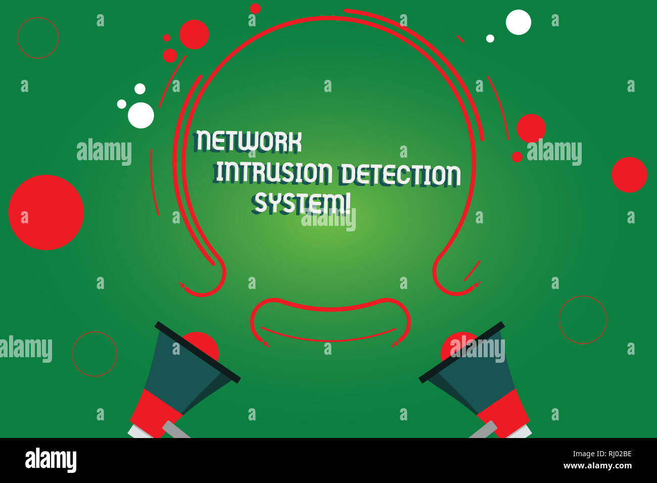 Text sign showing Network Intrusion Detection System. Conceptual photo Safety security multimedia systems Two Megaphone and Circular Outline with Smal - Stock Image