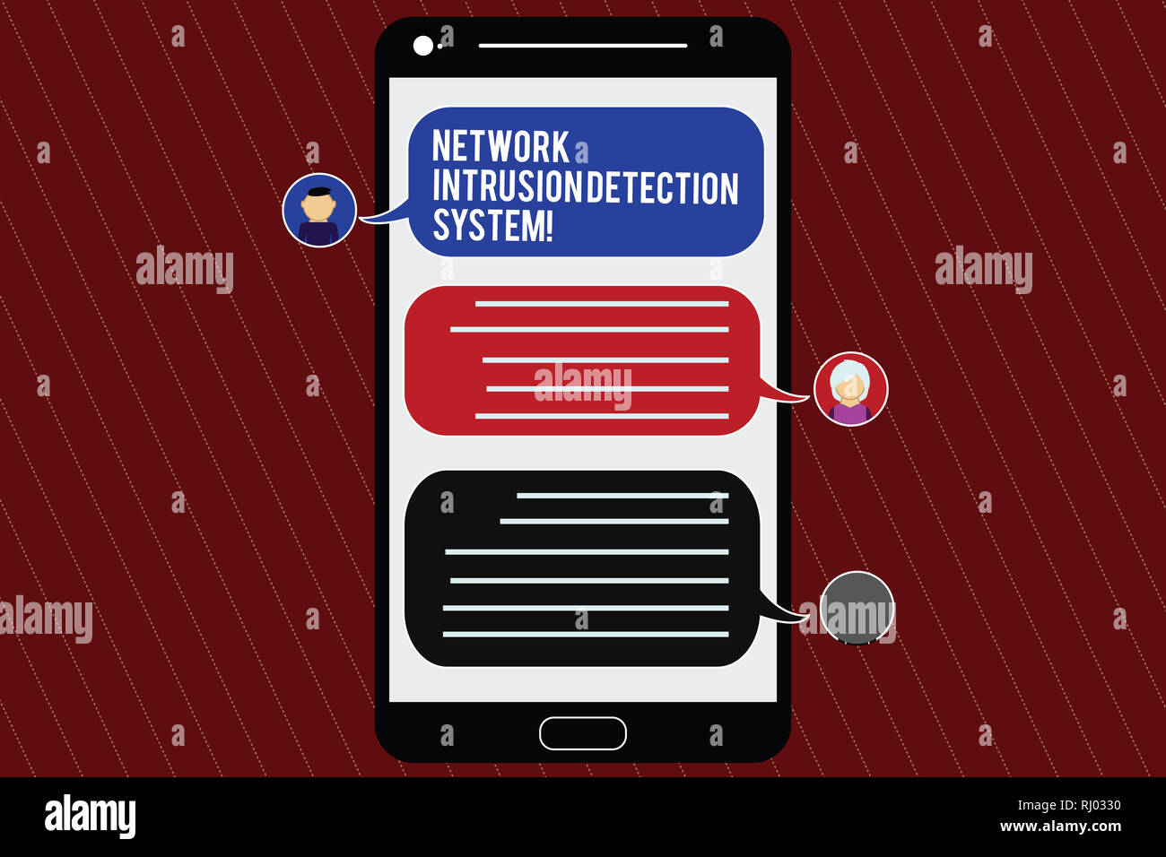 Text sign showing Network Intrusion Detection System. Conceptual photo Safety security multimedia systems Mobile Messenger Screen with Chat Heads and  Stock Photo