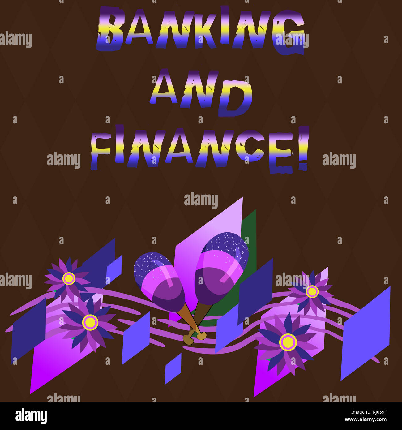 Conceptual hand writing showing Banking And Finance. Business photo showcasing institutions that provide variety of financial services Colorful Instru - Stock Image