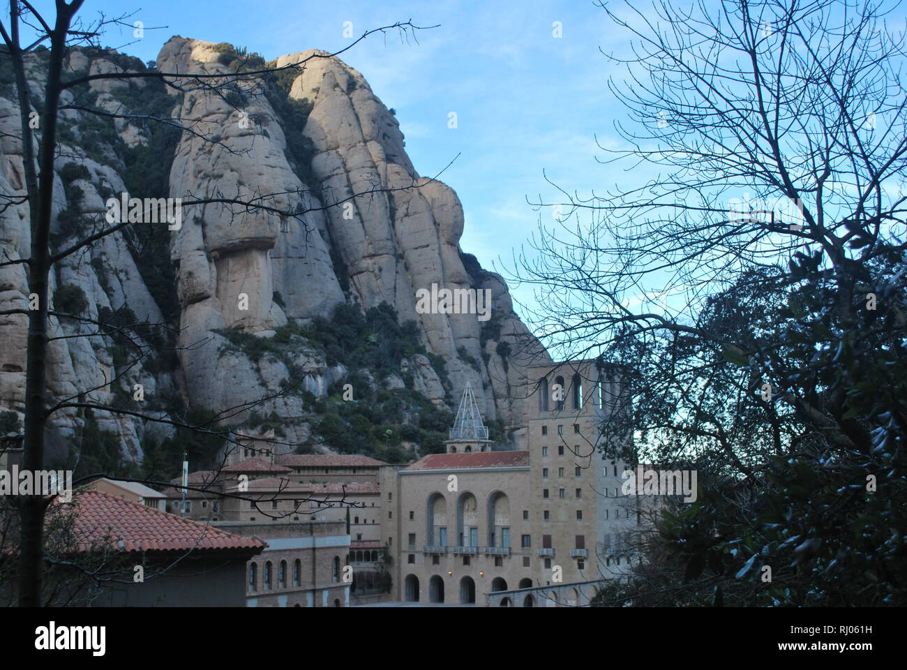 Santa Maria de Montserrat Abbey and Monastery on the side of the 'serrated mountain' in Catalonia, Spain - Stock Image