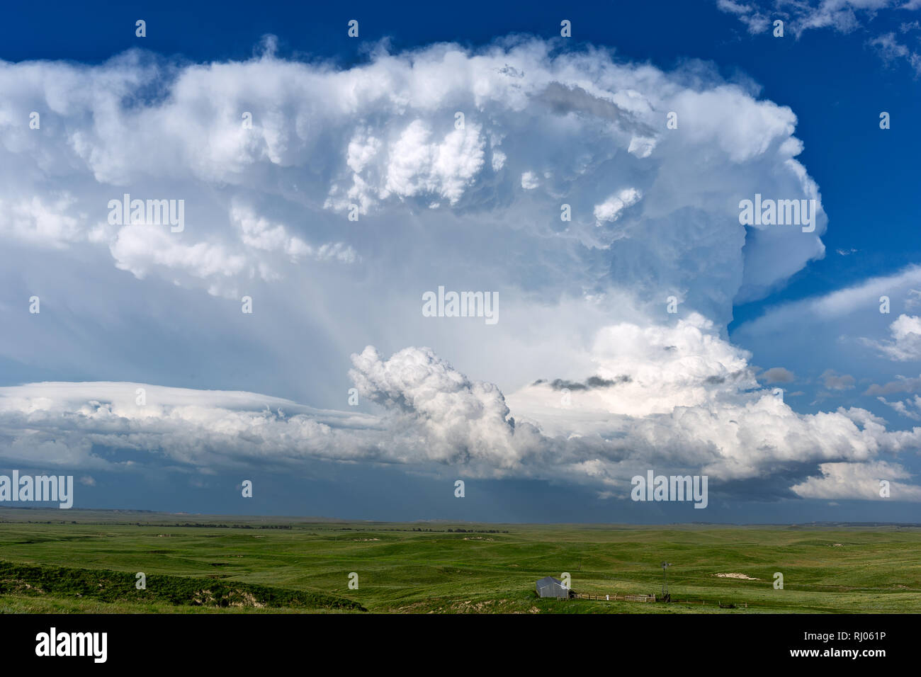 A cumulonimbus thunderstorm cloud in the afternoon sky above Lusk, Wyoming. - Stock Image