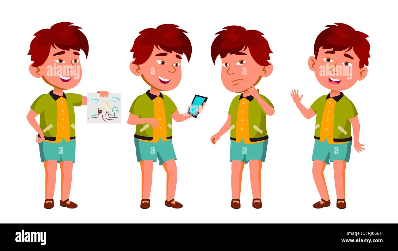 Asian Boy Kindergarten Kid Poses Set Vector. Happy Beautiful Children Character. For Advertising, Booklet, Placard Design. Isolated Cartoon - Stock Image