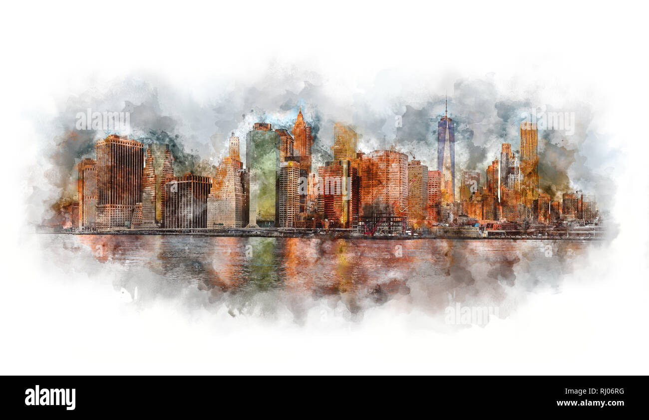 New York City Panorama - Manhattan and business district at the morning, gentle sun colors, very big size - Watercolor artwork - Stock Image