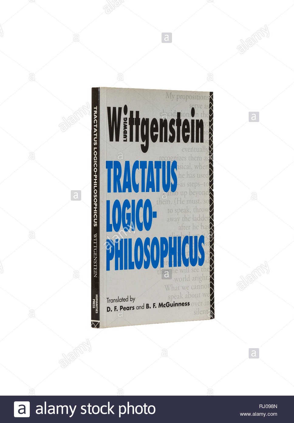 Book image: Ludwig Wittenstein's 'Tractatus Logico-philosophicus', translated by David Pears and B. F. McGuiness.  Isolated on pure white background. - Stock Image
