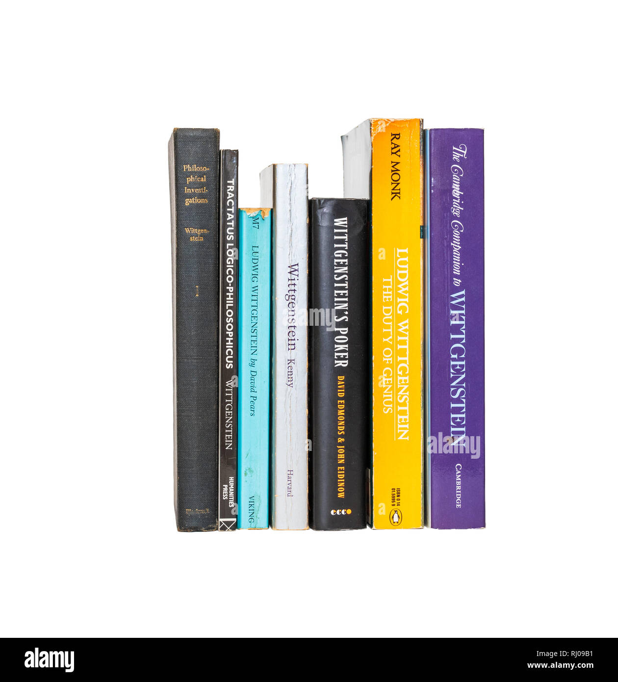 Book image: Collection of books by and about Ludwig Wittgenstein, isolated on pure white background.  Spines showing. - Stock Image