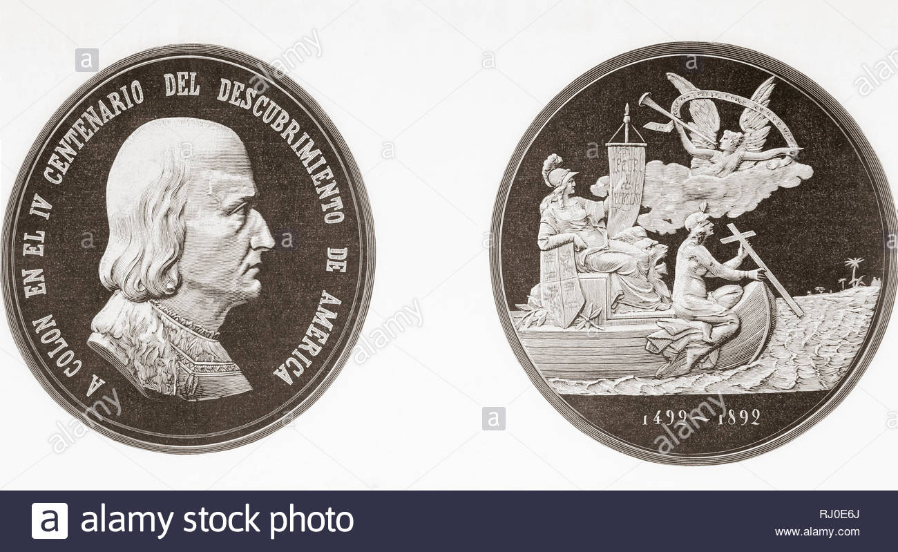 Commemorative medal celebrating the 400 year anniversary of Columbus's discovery of America in 1492.  From La Ilustracion Espanola y Americana, published 1892. - Stock Image