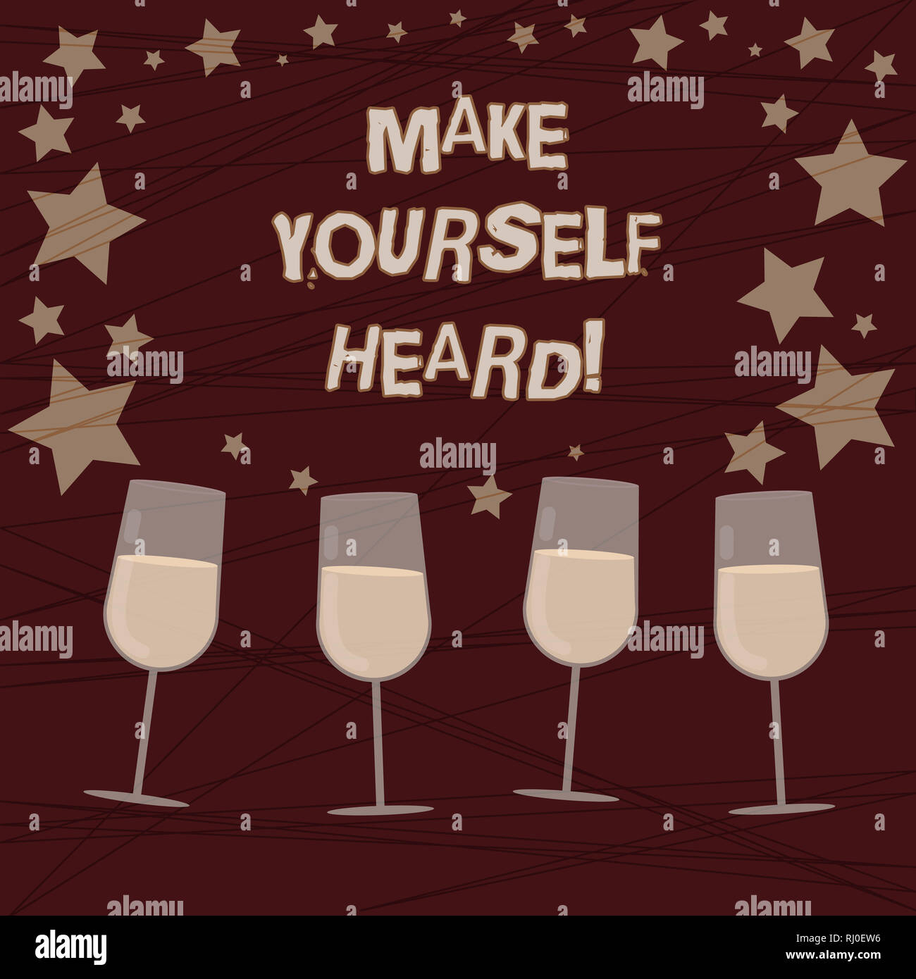 Conceptual hand writing showing Make Yourself Heard. Business photo showcasing say something loudly enough for showing to hear Filled Cocktail Wine wi - Stock Image