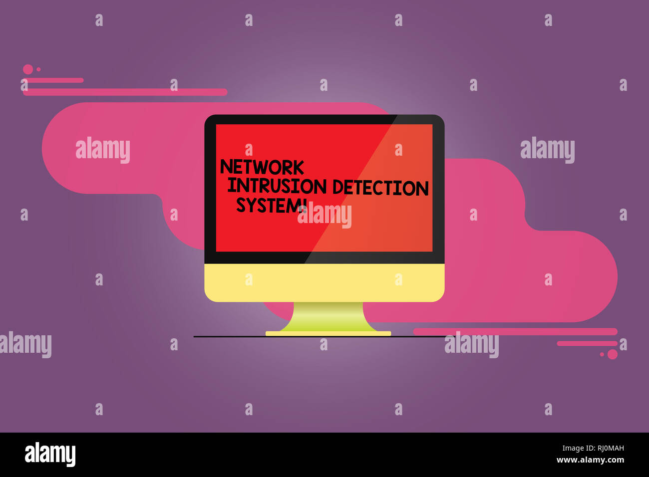 Word writing text Network Intrusion Detection System. Business concept for Safety security multimedia systems Mounted Computer Monitor Blank Reflected - Stock Image
