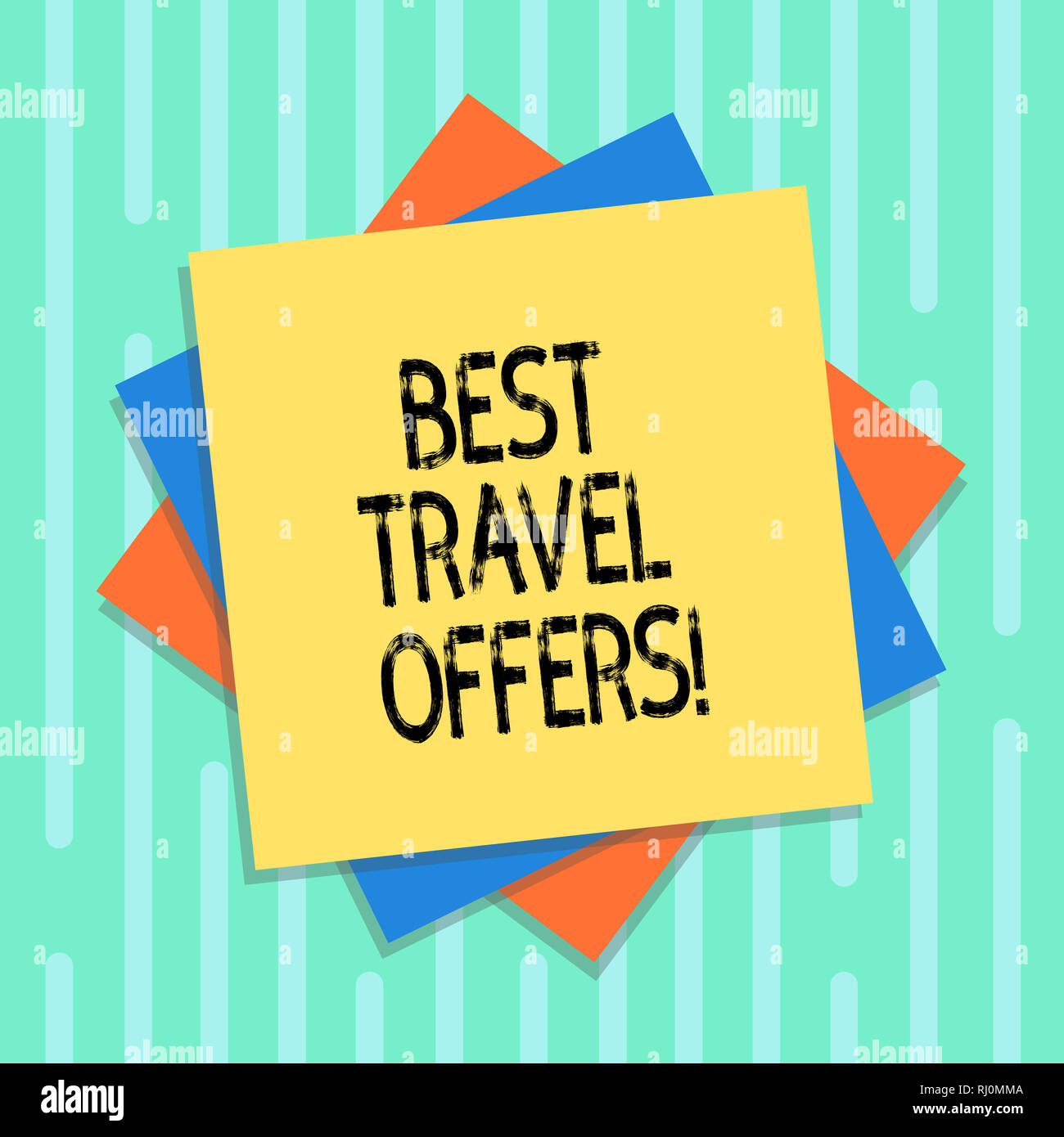 Word writing text Best Travel Offers. Business concept for visit other countries with great discount promotion Multiple Layer of Blank Sheets Color Pa Stock Photo
