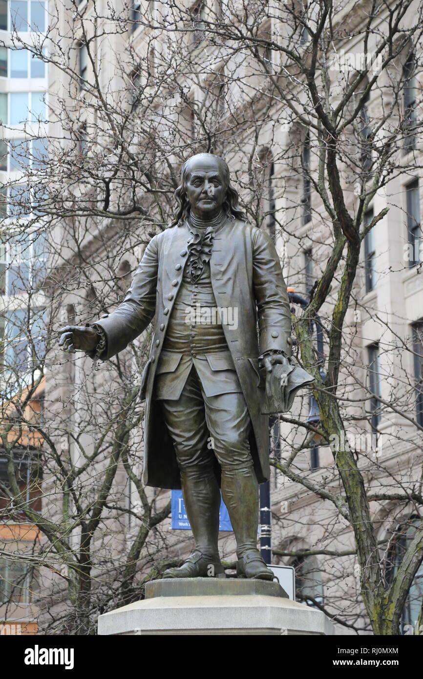 Benajmin Franklin (1706-1790). Statue by Ernst Plassman (1823-1877), 1870-1872. NY. USA - Stock Image