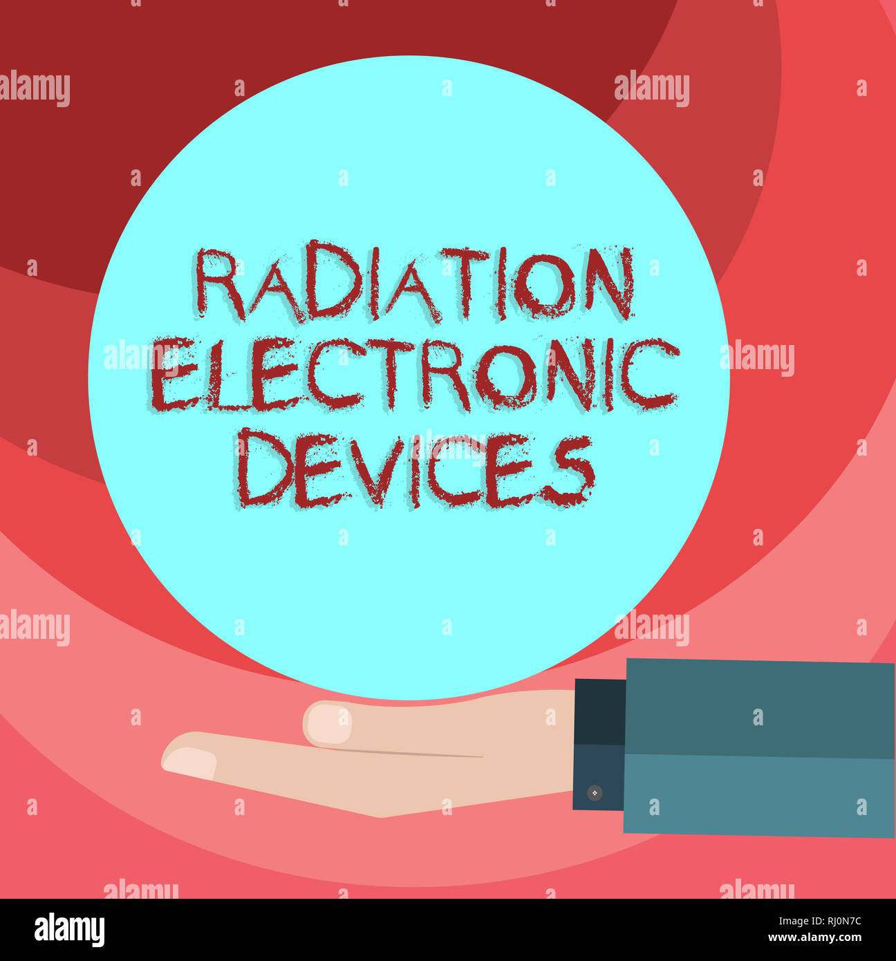Text sign showing Radiation Electronic Devices. Conceptual photo radio frequency emitted by electronic devices Hu analysis Hand in Suit Offering Blank - Stock Image