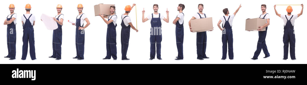 panoramic collage of skilled handyman isolated on white - Stock Image