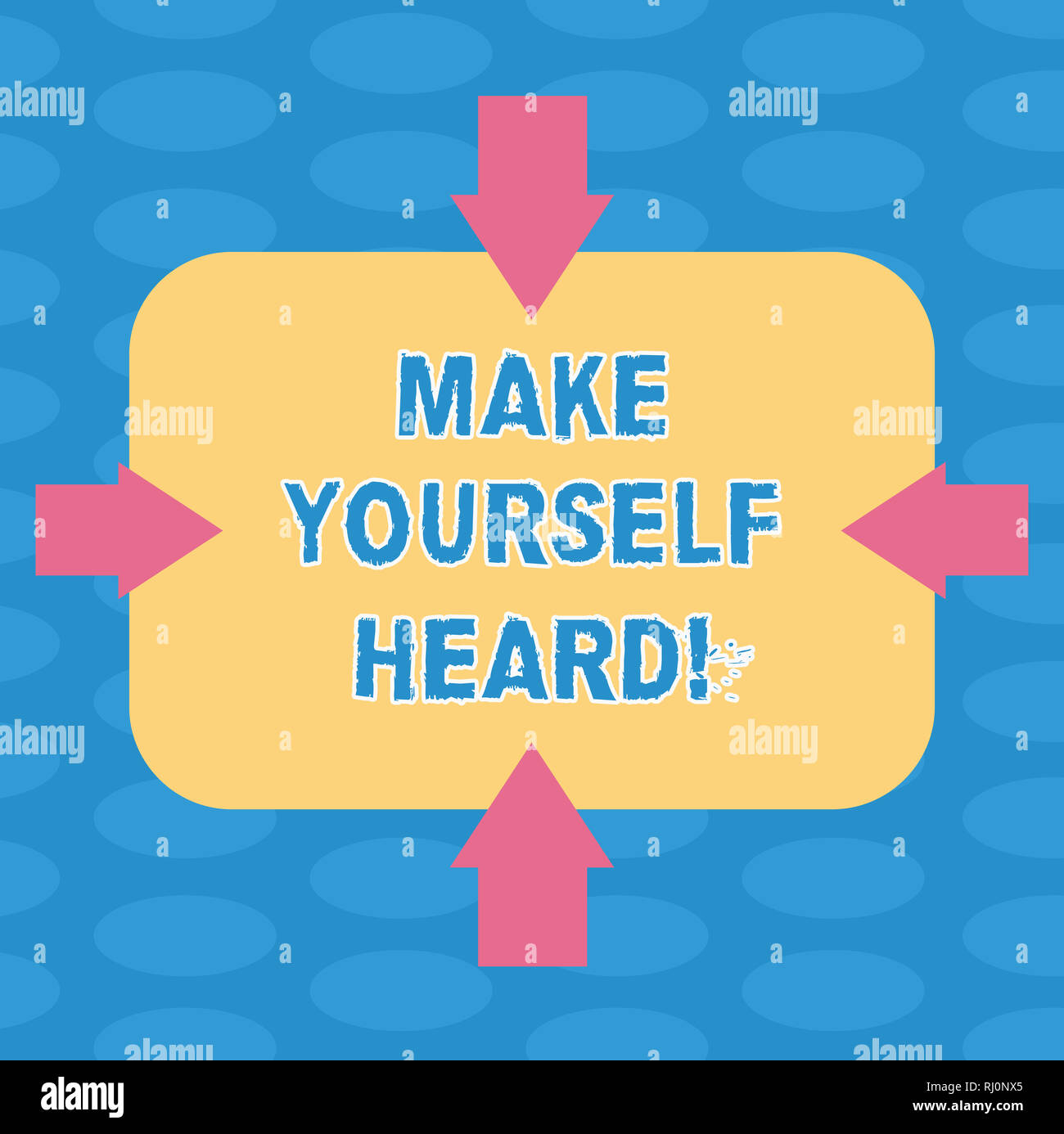 Word writing text Make Yourself Heard. Business concept for say something loudly enough for showing to hear Arrows on Four Sides of Blank Rectangular  - Stock Image