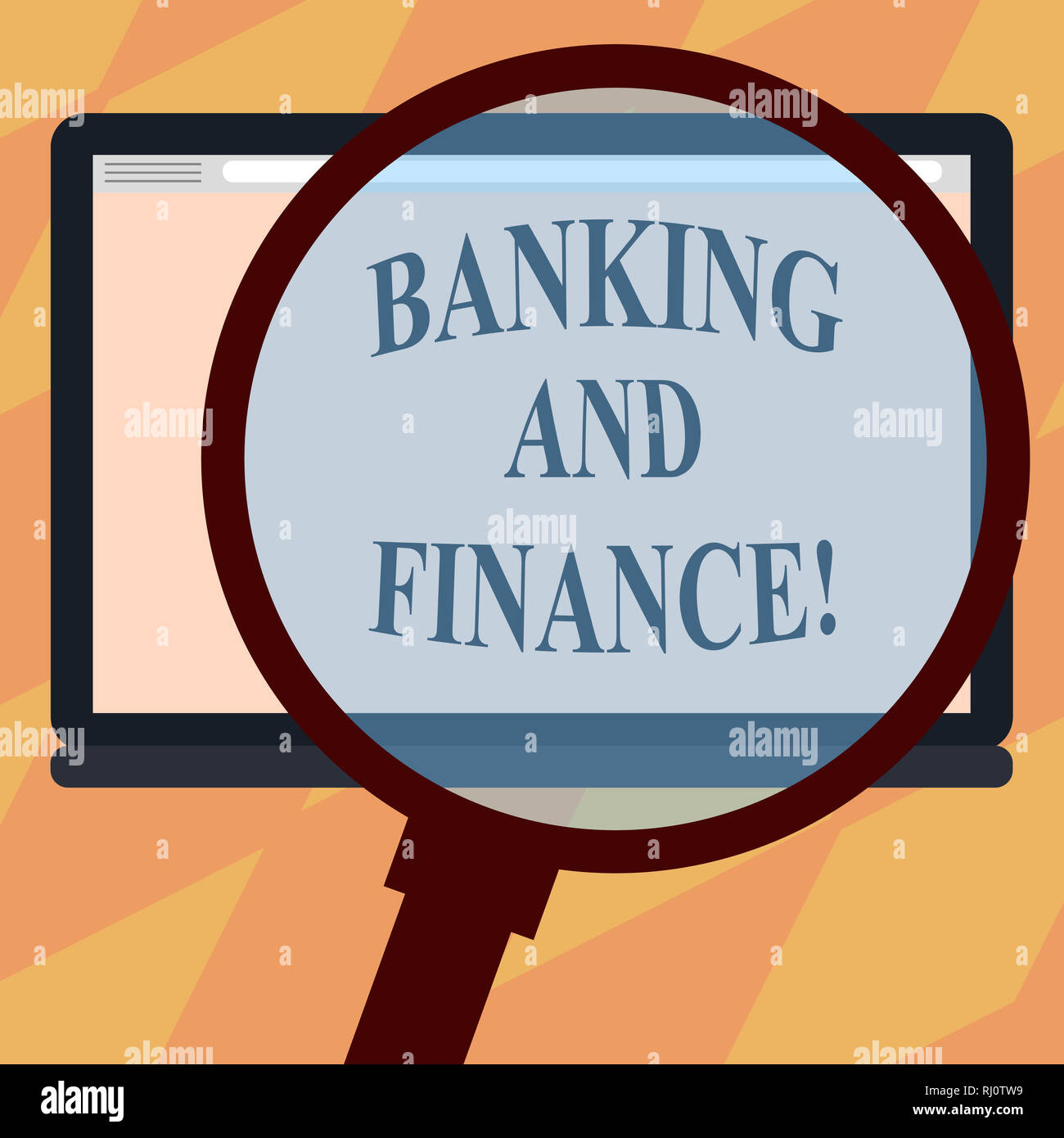 Text sign showing Banking And Finance. Conceptual photo institutions that provide variety of financial services Magnifying Glass Enlarging Tablet Blan - Stock Image