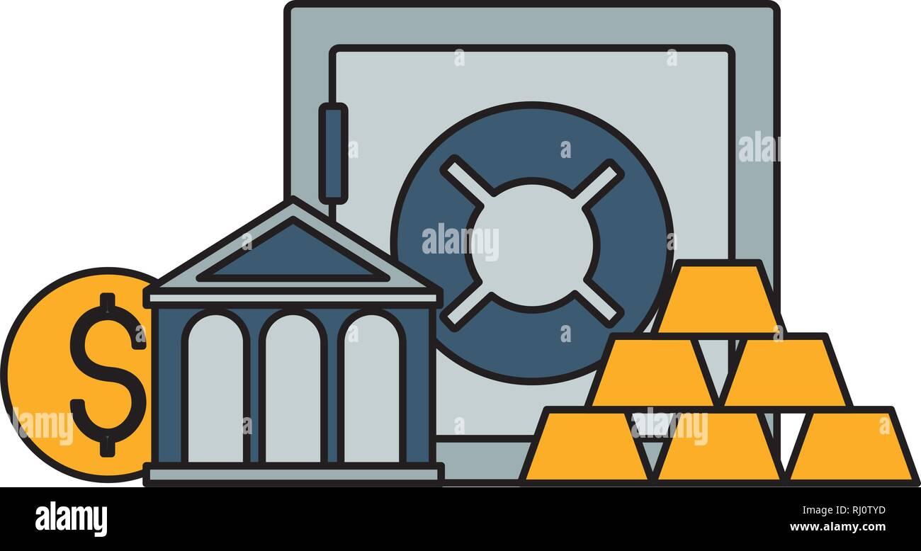 bank save box gold bars - Stock Image