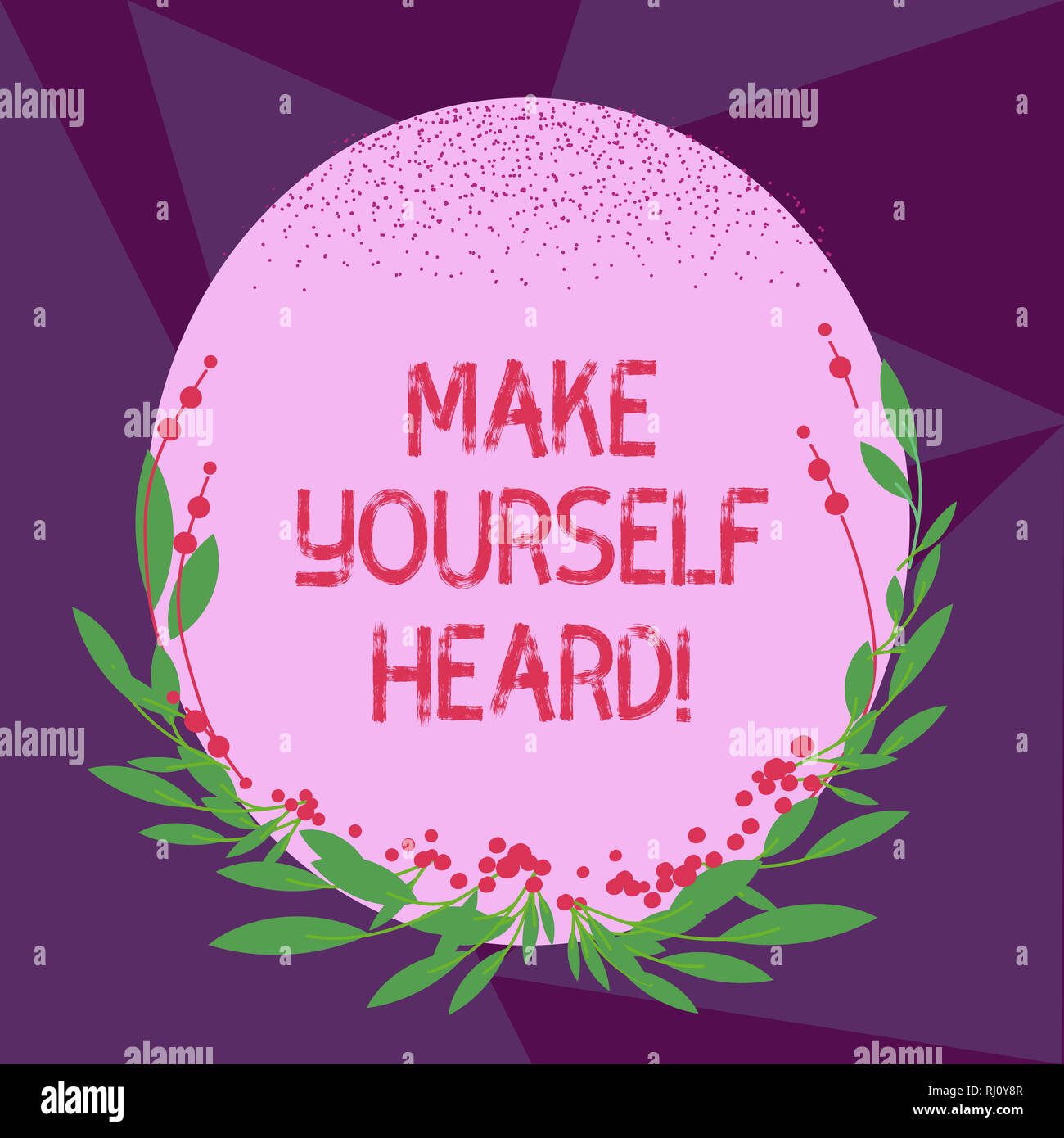 Writing note showing Make Yourself Heard. Business photo showcasing say something loudly enough for showing to hear Blank Color Oval Shape with Leaves - Stock Image