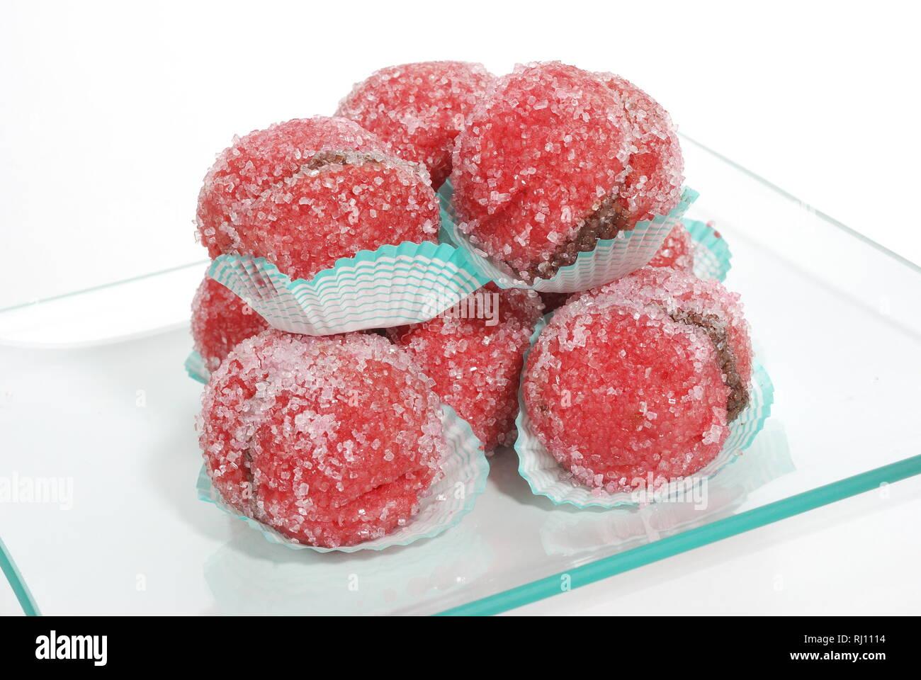 Cakes with chocolate cream and Christmas sugar Stock Photo