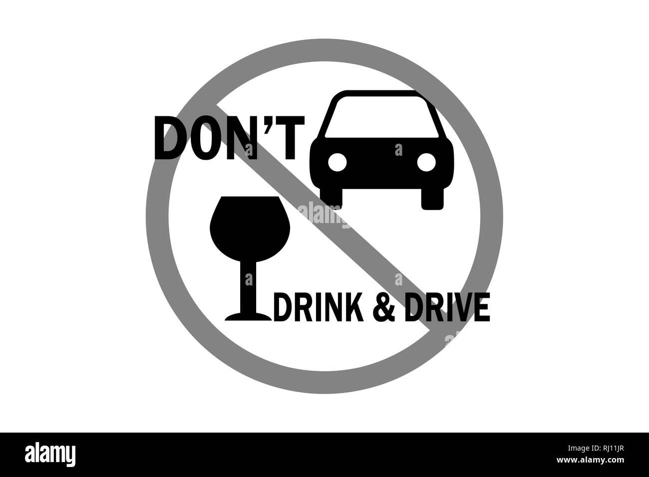 don't drink and drive text icon illustration isolated on white background - Stock Image