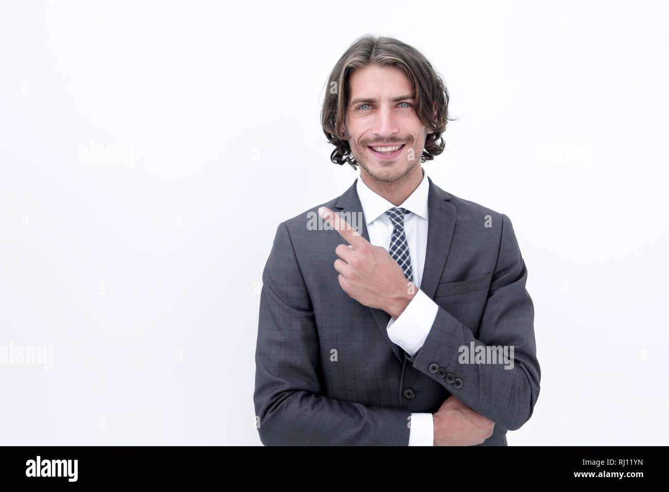 Handsome businessman showing finger point up - Stock Image