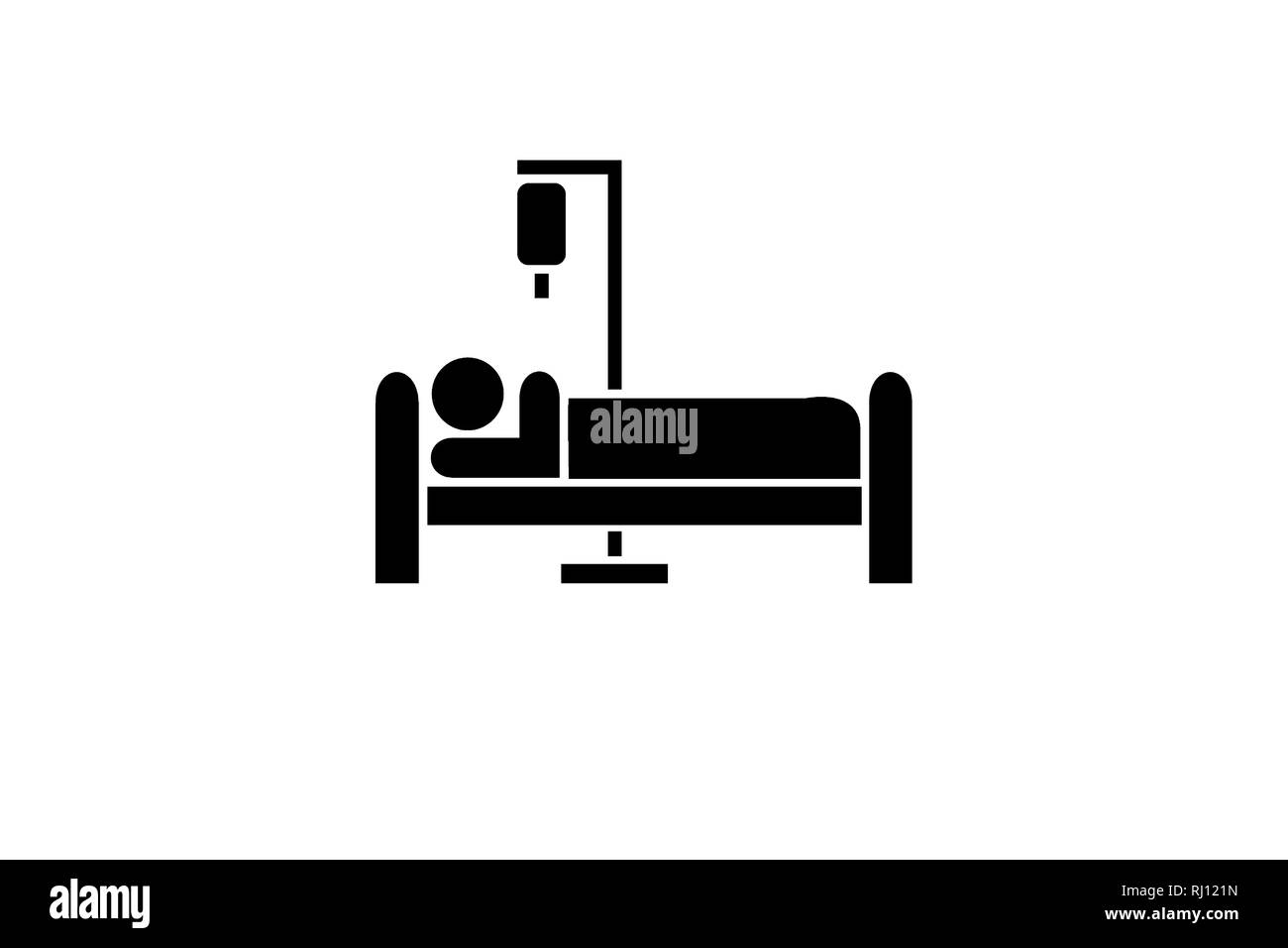 Patient in bed recovery IV icon symbol isolated on white - Stock Image