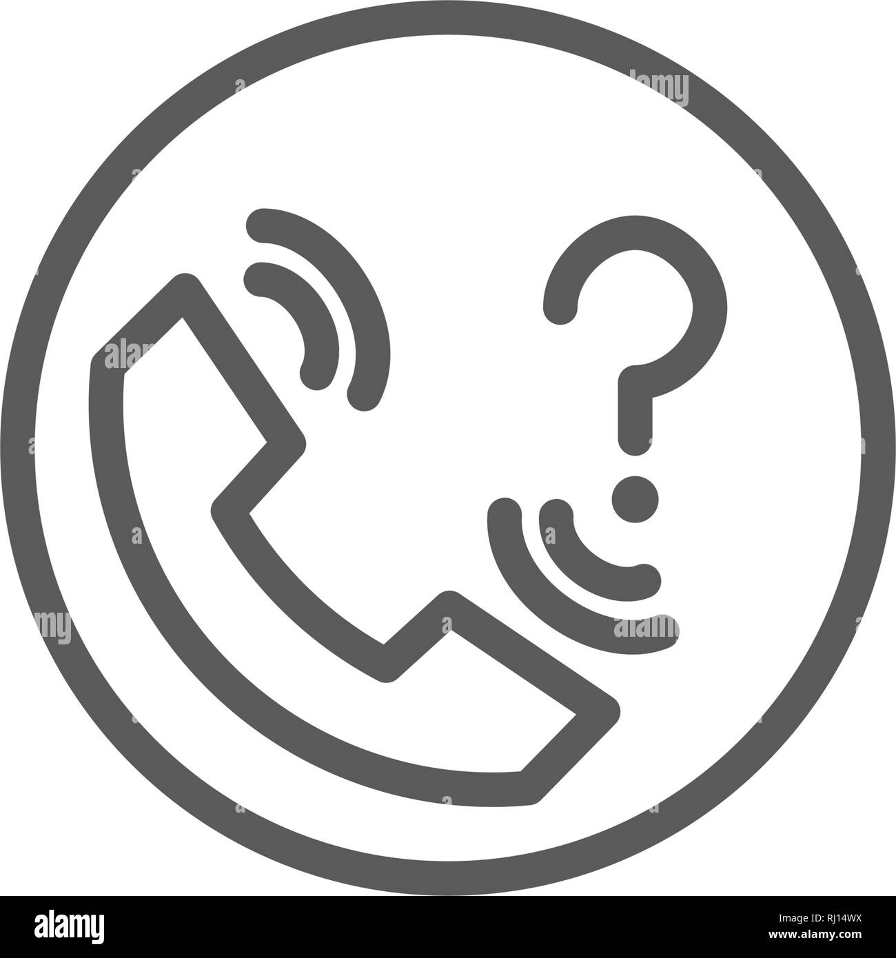 Contact support with question mark line icon. - Stock Image
