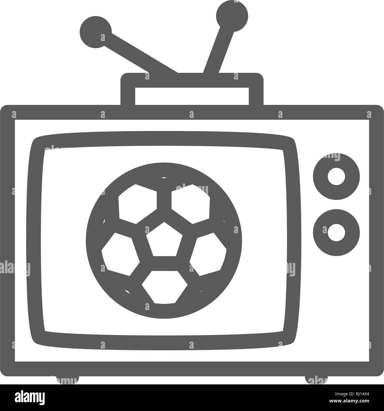 Broadcast match on TV, soccer line icon. - Stock Vector