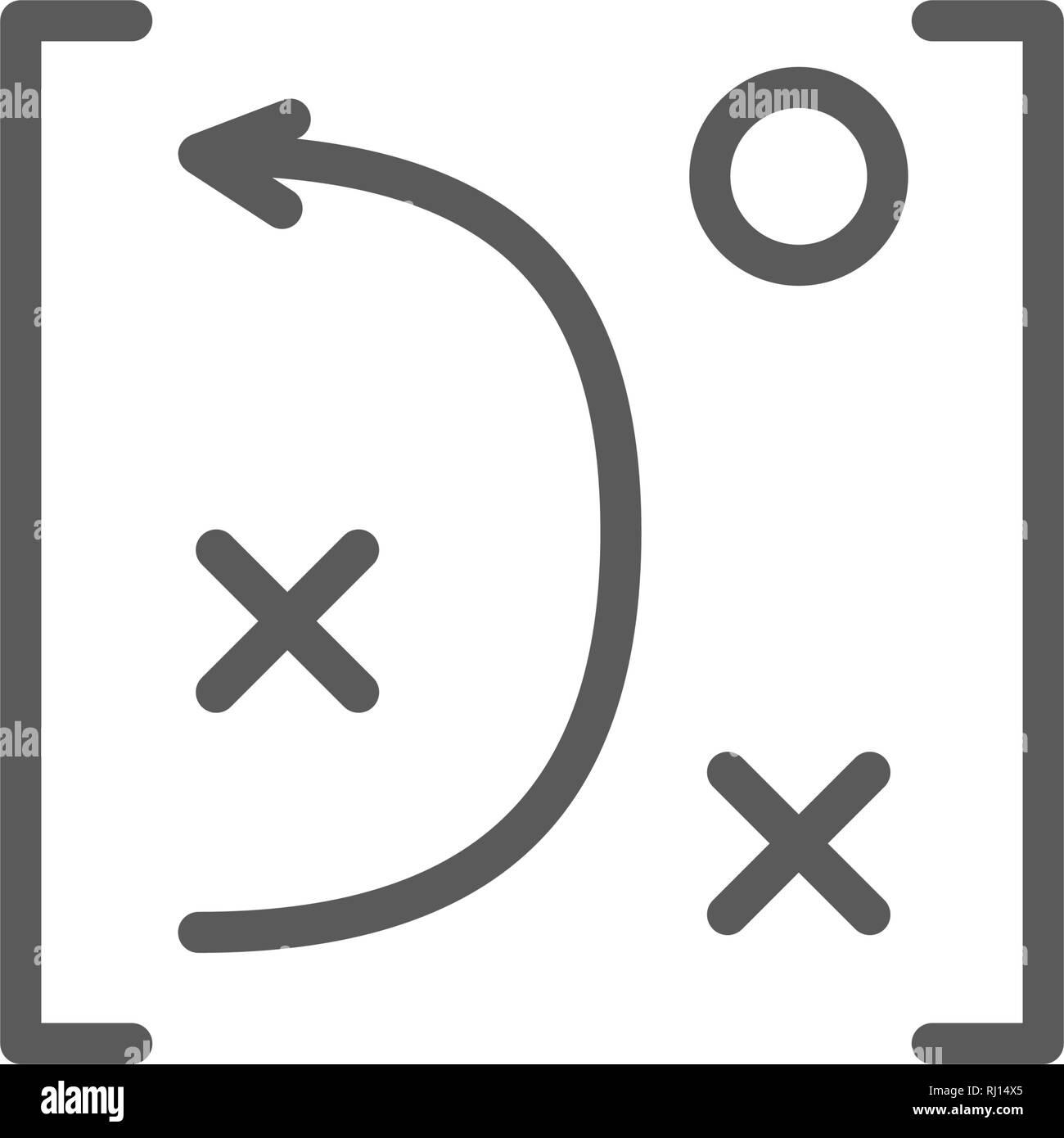 Game tactics scheme line icon. - Stock Image