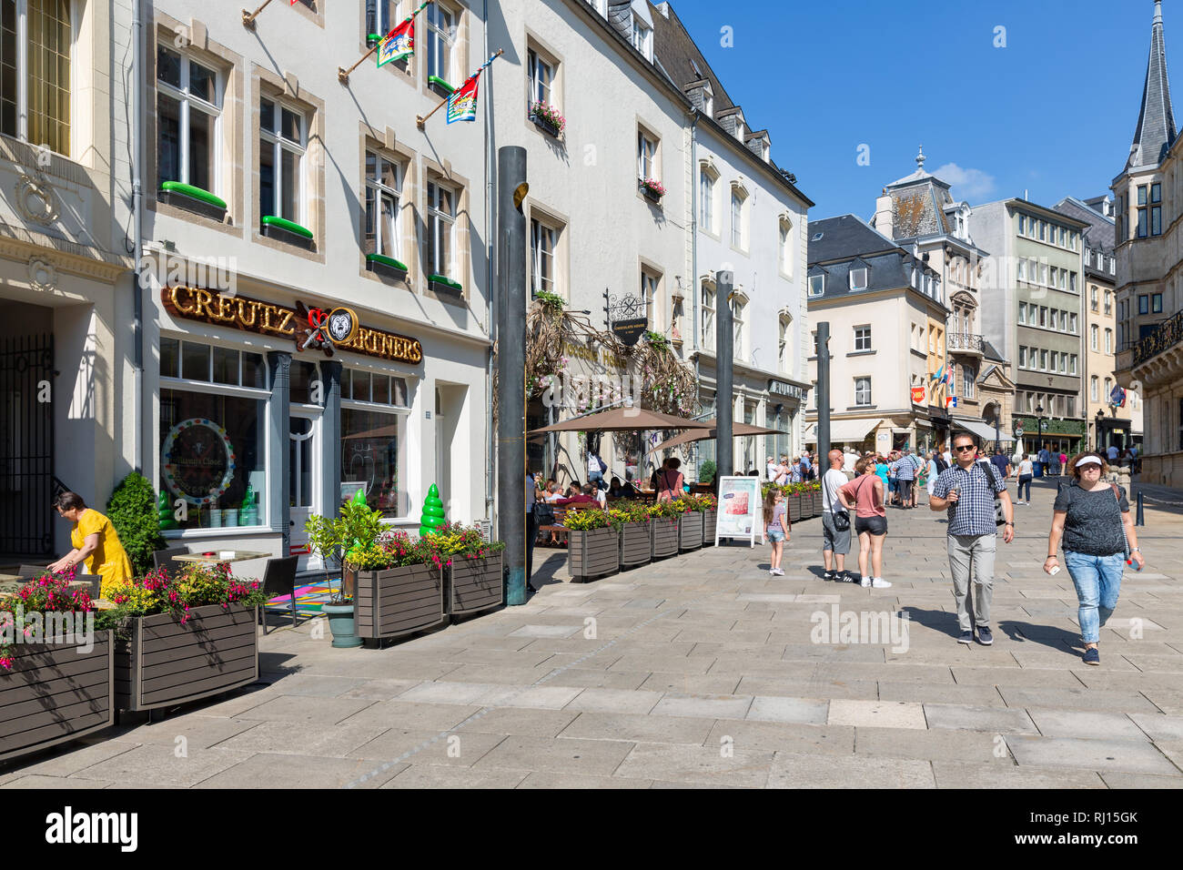 Centre Luxembourg City With Restaurants And Shopping People