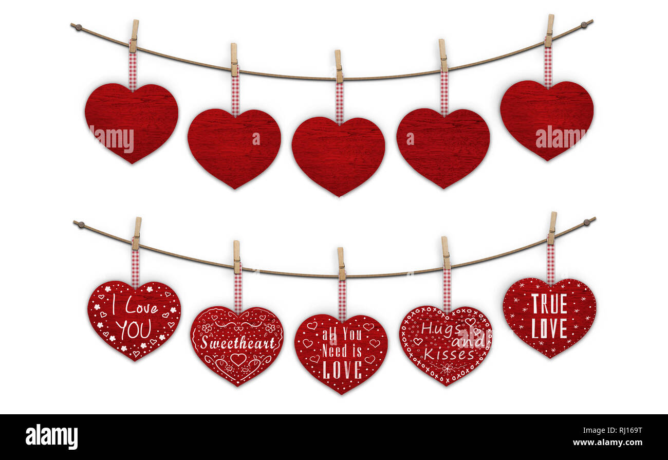 cute red wooden hearts hanging on clothes pegs, blank and decorated with text  I love you, isolated on white background Stock Photo