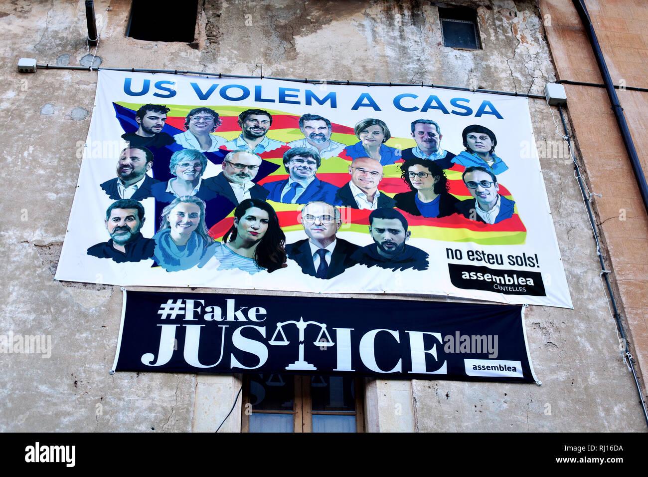 Pro-Catalan independence propaganda, Centelles, Catalonia, Spain. Stock Photo