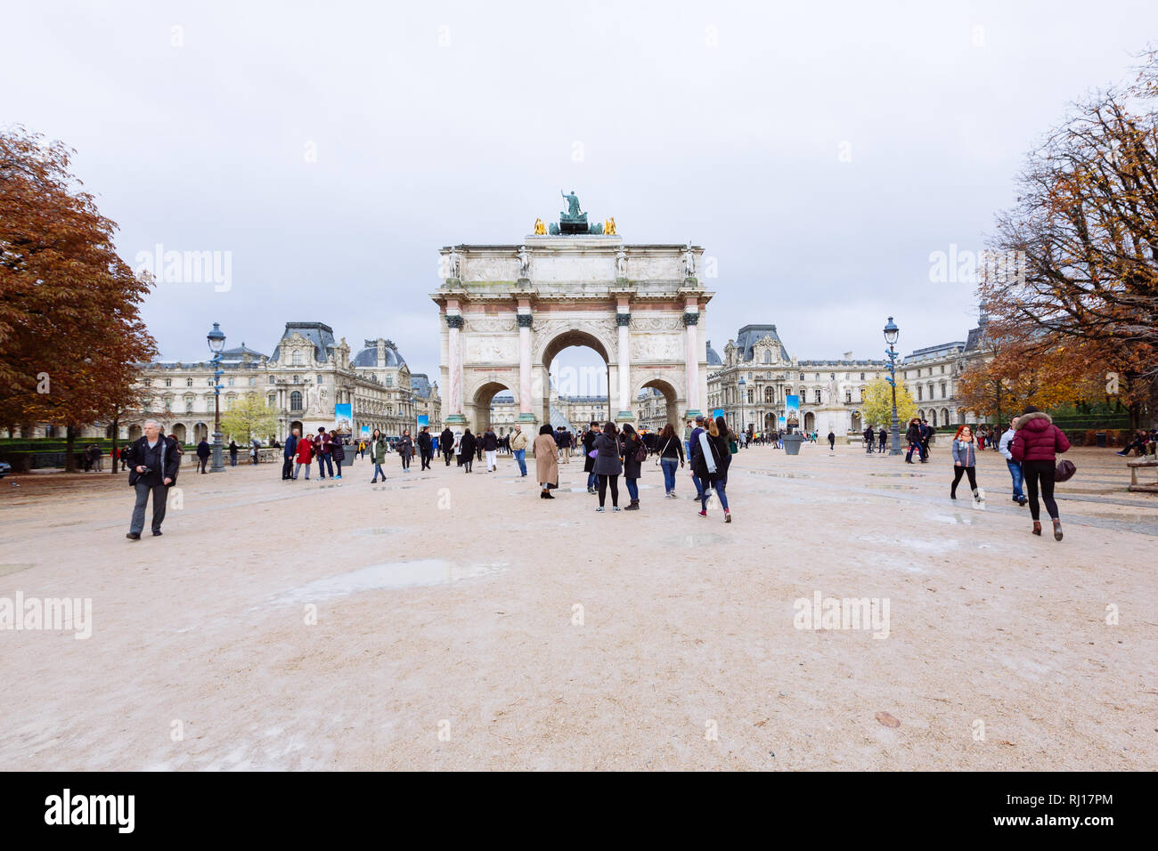 PARIS, FRANCE - NOVEMBER 10, 2018 - View of famous Arc de Triomphe du Carrousel against the background of the Louvre Museum in Paris Stock Photo