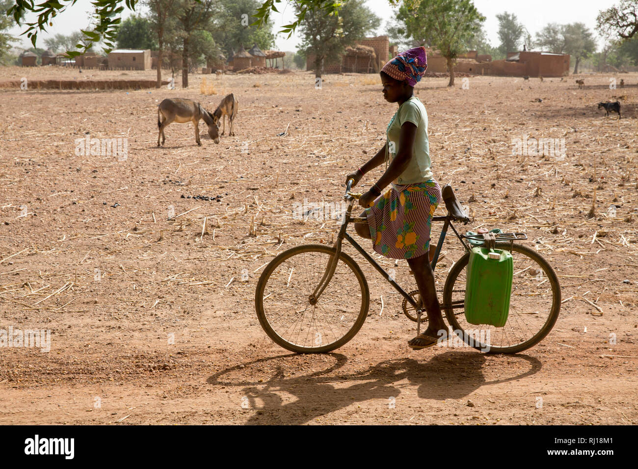 Samba village, Yako Province, Burkina Faso: A teenage girl transports two canisters of water from the well to her home on her bike. Stock Photo