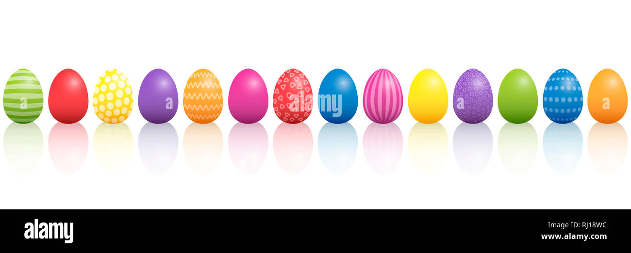 Easter eggs. Lined up colorful mixture with different patterns. Three-dimensional illustration on white background. - Stock Image