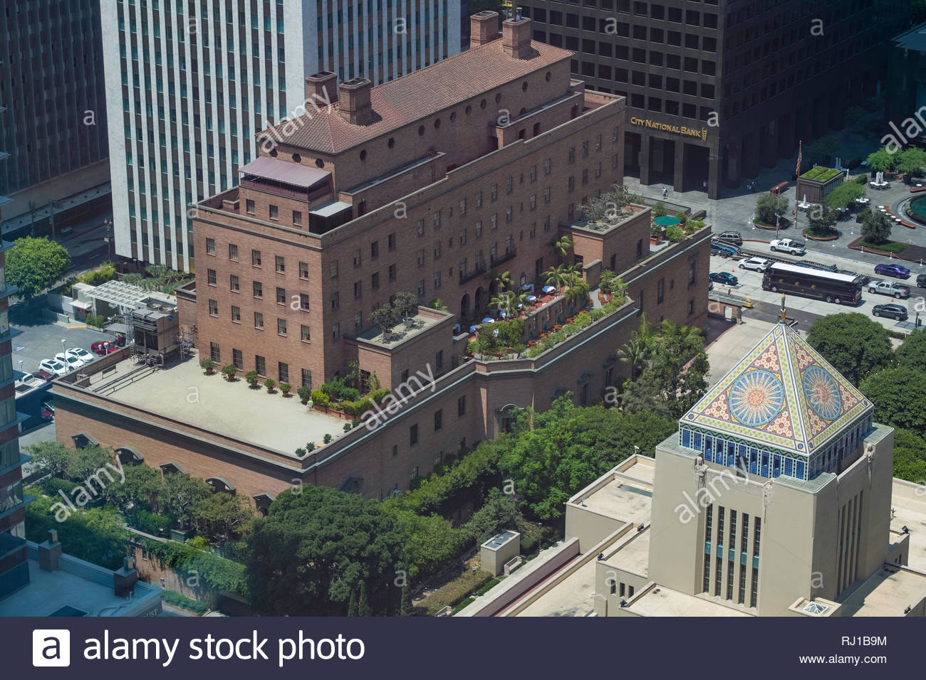 Arial view of the California Club and downtown Los Angeles, Los Angeles County, California, USA - Stock Image