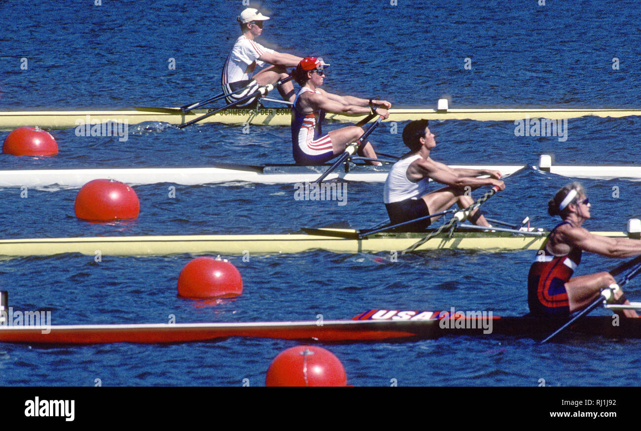 Atlanta, USA. 1996 Olympic Rowing Regatta Start of a heat of the Women's single sculls, second from top GBR W1X, Guin BATTEN,  Lake Lanier, Georgia [Mandatory Credit Peter Spurrier/ Intersport Images] Stock Photo