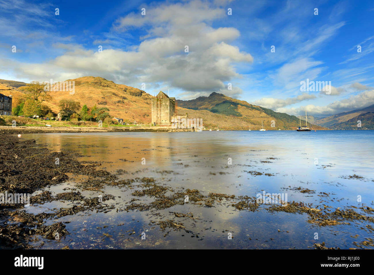 Carrick Castle on Loch Goil in Scotland. Stock Photo
