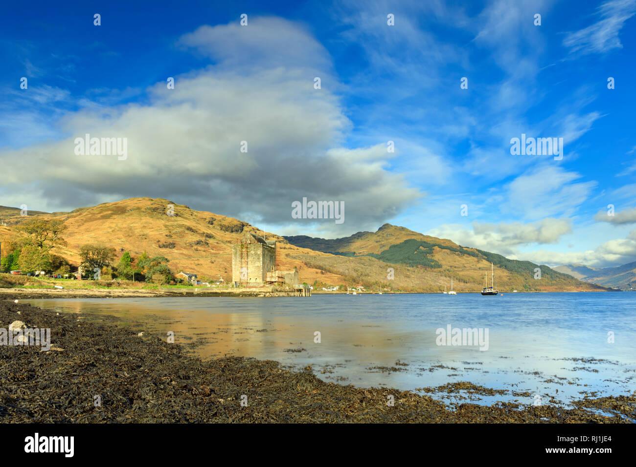Carrick Castle on Loch Goil in Scotland. - Stock Image